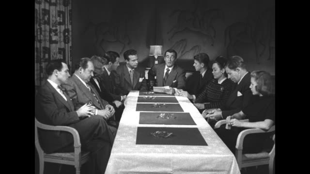 screen actors guild member celebrities seated around long table: gene kelly, edward arnold, alexis smith, robert taylor, dick powell, walter pidgeon,... - screen actors guild stock videos & royalty-free footage