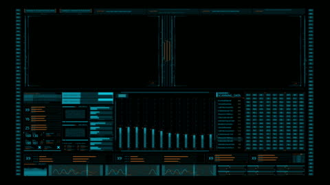 screen element for 3d artists and mition designers. futuristic multi screen gadget panel. glowing blue futuristic interface - surveillance stock videos & royalty-free footage