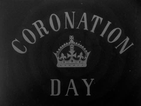 a screen graphic for the bbc's coverage of the coronation of elizabeth the second 1953 - coronation stock videos and b-roll footage