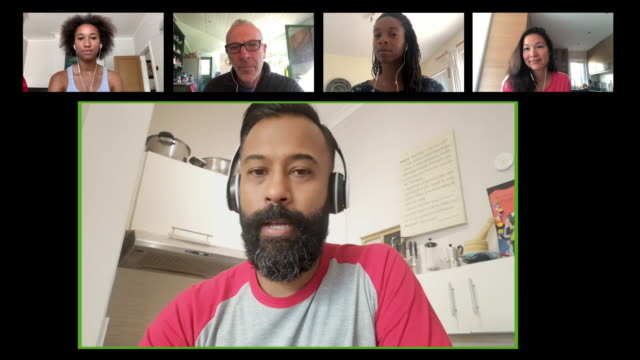 screen of multiple work colleagues on video call - global village stock videos & royalty-free footage