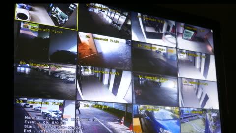 skärmdump av övervakningskameror inlagd - övervakningskamera bildbanksvideor och videomaterial från bakom kulisserna