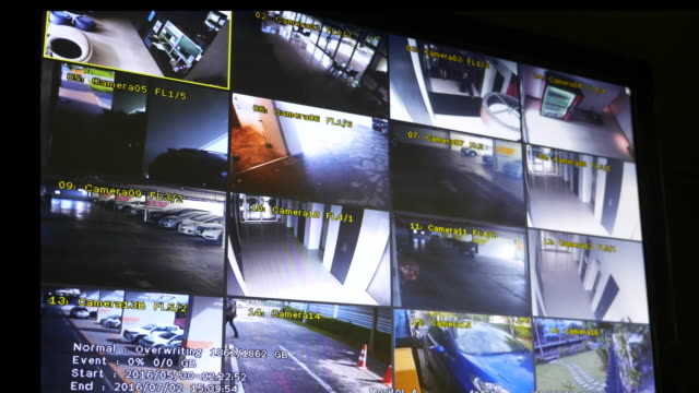 screen shot of security cameras posted - surveillance stock videos and b-roll footage