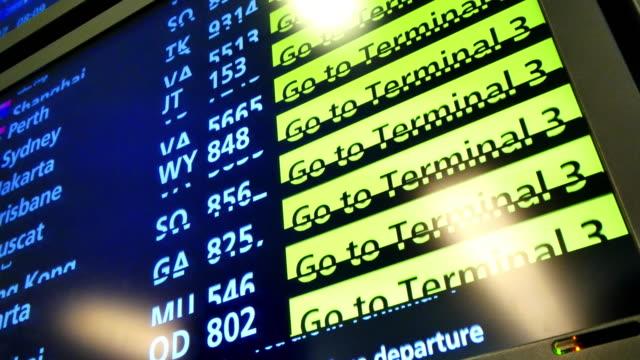 stockvideo's en b-roll-footage met scherm met vluchtinformatie - digital signage