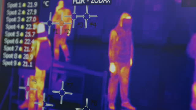 screening infected passengers by thermographic, camera in airports. coronavirus 2020-ncov. thermal imaging disease control - science and technology stock videos & royalty-free footage