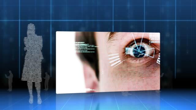 vídeos de stock e filmes b-roll de screens showing eye and hand identification on futuristic interface - figura masculina