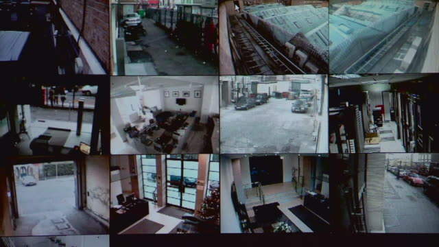 vídeos de stock e filmes b-roll de cu screens showing various views from security cameras / london, england - espião