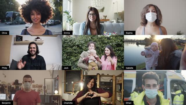 vídeos y material grabado en eventos de stock de captura de pantalla de una videoconferencia con muchas personas que se conectan - composición fílmica