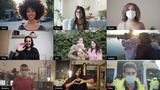 vídeos y material grabado en eventos de stock de captura de pantalla de una videoconferencia con muchas personas que se conectan - grupo grande de personas