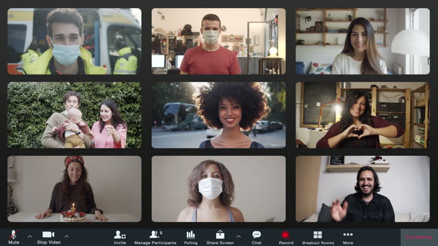 screenshot of a videoconference with many people connecting together - film composite stock videos & royalty-free footage