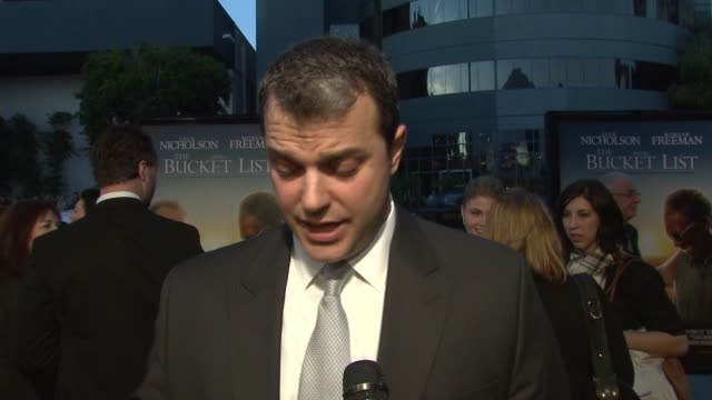 screenwriter justin zackham on the definition of a bucket list, and what he put on the list for the lead characters at the 'the bucket list' premiere... - scriptwriter stock videos & royalty-free footage