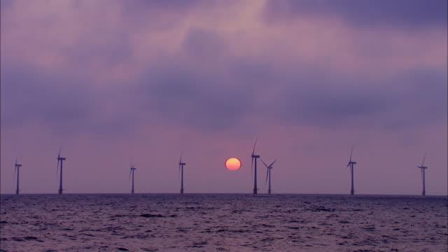 vídeos de stock, filmes e b-roll de ws scroby offshore windfarm with sunrise / great yarmouth, norfolk,  united kingdom - norfolk east anglia