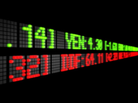 vídeos de stock, filmes e b-roll de scrolling information on green and red led displays - ação da bolsa de valores