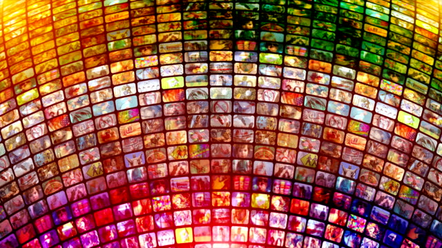 scrolling media related loop. multimedia wall, information medium, streaming, broadcasting. - large group of objects stock videos & royalty-free footage
