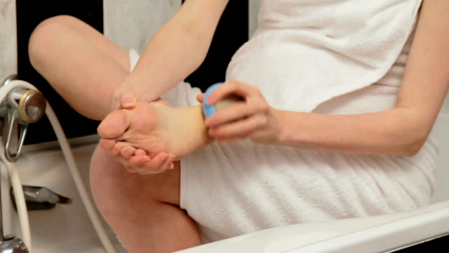 Scrubbing of heel of foot