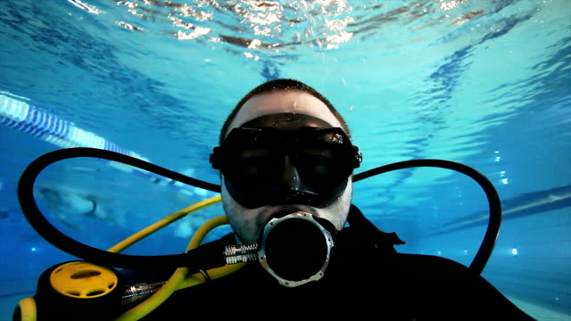 Scuba diver in a swimming pool