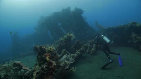 taucher vor usat shipwreck unterwasser (4k), indonesien - wrack stock-videos und b-roll-filmmaterial