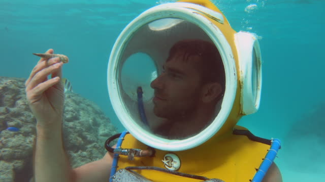 a scuba diver looks at a seashell with a diving helmet in moorea tropical island with stingrays. - diving helmet stock videos and b-roll footage