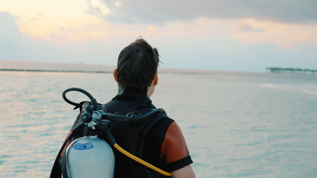 scuba diver walking along a beach at sunset - aqualung diving equipment stock videos & royalty-free footage