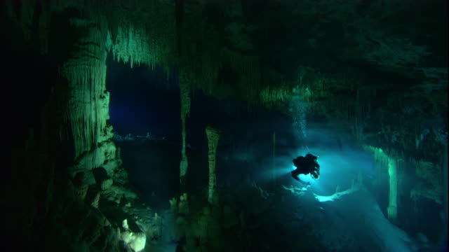 scuba divers investigate a cenote cave in yucatan, mexico. available in hd. - aqualung diving equipment stock videos & royalty-free footage