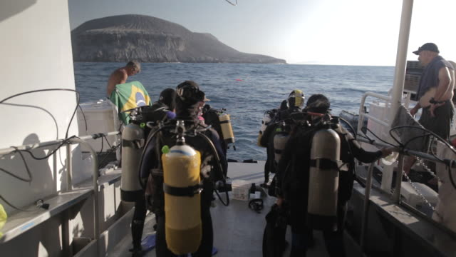 MS Scuba divers preparing for entering in water from boat deck / Socorro Islands, Mexico