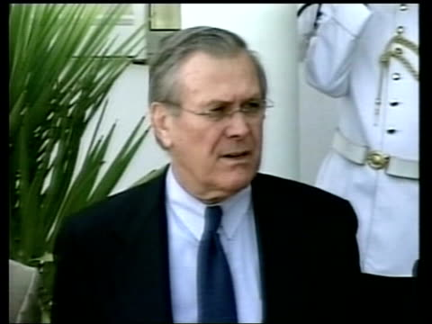 Donald Rumsfeld speaking to press SOT Talks of North Korean weapons exports