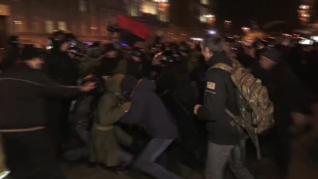 Scuffles between proEuropean protesters and members of Far Right groups take place on Kiev's Independence Square as Ukraine marks the third...