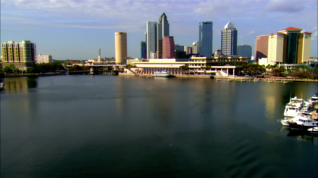 low aerial, scullers on bay and downtown district, tampa, florida, usa - tampa stock videos & royalty-free footage