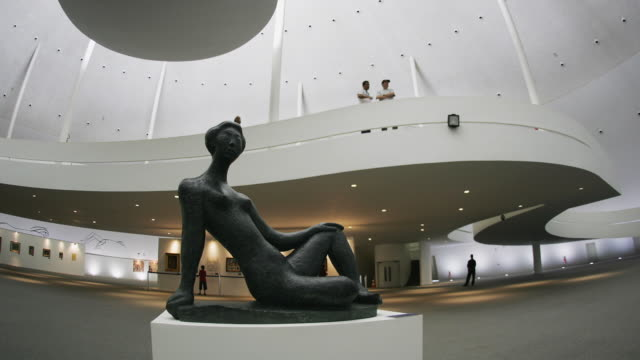 t/l, ms, sculpture by bruno giorgio in national museum of brazil, brasilia, brazil - 彫刻作品点の映像素材/bロール