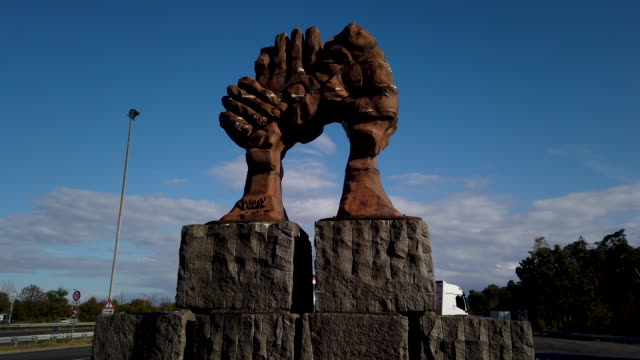 """sculpture called """"the vault of the hands"""" by french artist jose castell erected in 1995 and meant to commemorate german reunification stands at the... - french revolution stock videos & royalty-free footage"""