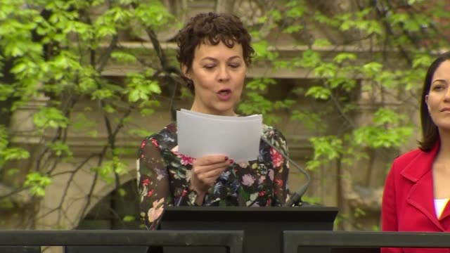 dame millicent fawcett statue unveiled in parliament square; parliament square: ext helen mccrory reading words of dame millicent fawcett at... - ヘレン マックローリー点の映像素材/bロール