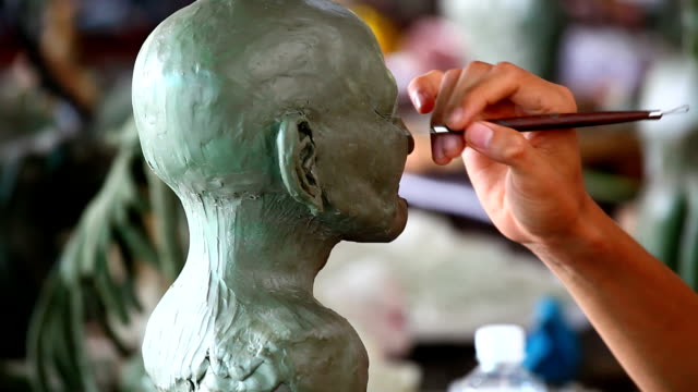 sculpture head made - sculpture stock videos & royalty-free footage