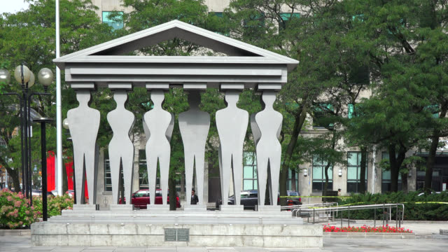 sculpture named 'pillars of justice' by edwina sandys seen on july 20, 2019; in toronto, ontario, canada. the public art wants you to imagine being... - local landmark stock videos & royalty-free footage