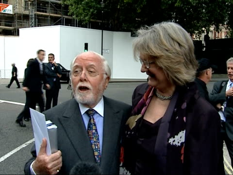 Nelson Mandela statue unveiled in Parliament Square Lord Attenborough Richard Attenborough and Wendy Woods interview SOT