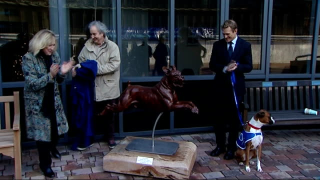 Sculpture of a boxer dog unveiled at Battersea Dogs and Cats Home ENGLAND London Battersea Dogs and Cats Home EXT Josh Lewsey unveiling statue of...