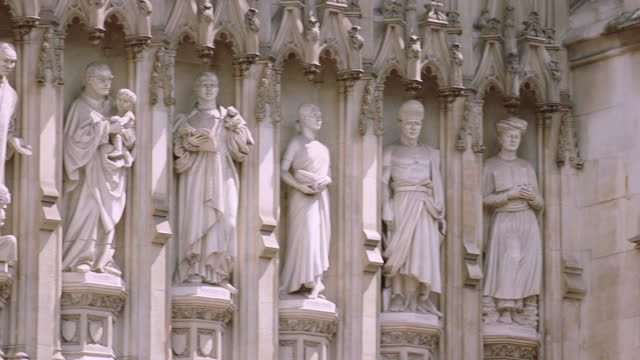 sculpture of palace of westminster / london, england - ornate stock videos & royalty-free footage