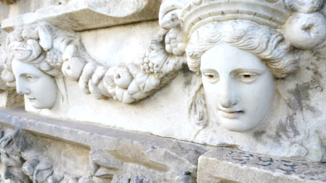 sculpture walls in aphrodisias antique city - old ruin stock videos and b-roll footage
