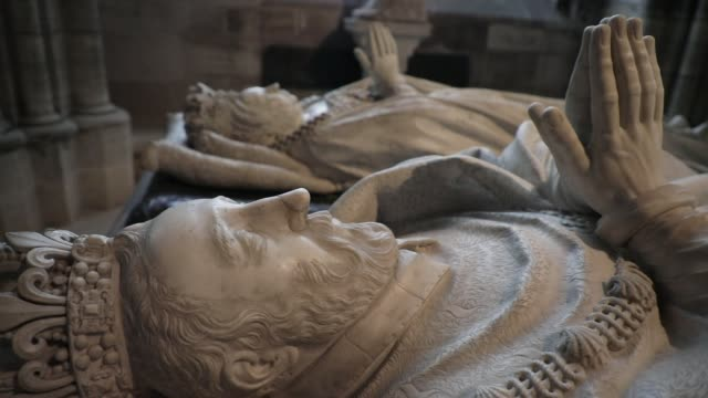 sculptures representing french sovereign praying at the basilica of saint-denis in the outskirts of paris on july 5, 2020 in saint denis, france. the... - basilica stock videos & royalty-free footage