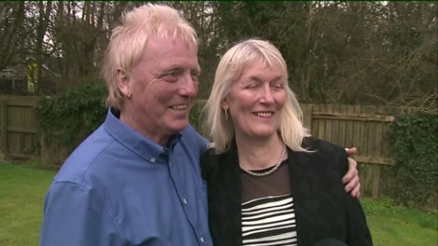 scunthorpe couple win euromillions draw for second time kathleen and david long interview sot various of david long and kathleen long holding two... - winnings stock videos and b-roll footage
