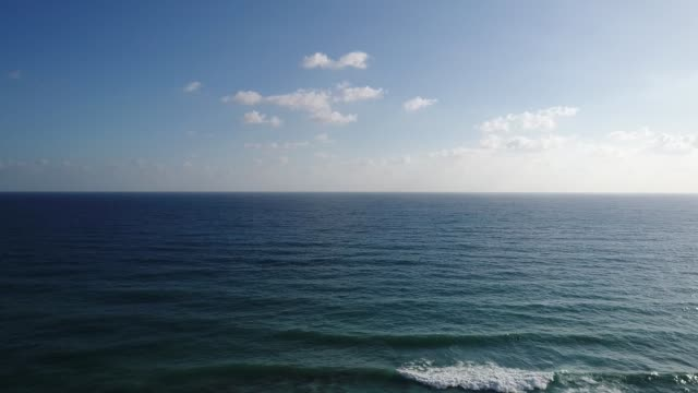 Sea and sky aerial footage of horizon