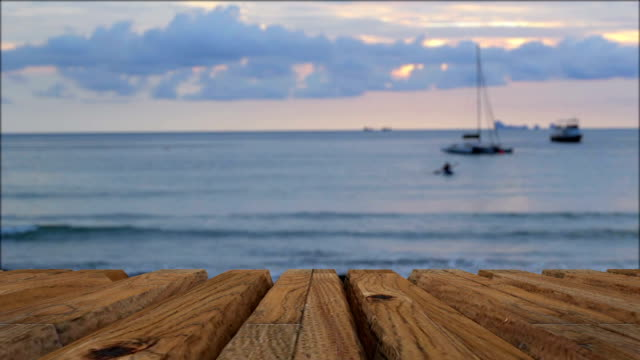 sea and wooden platform - table stock videos and b-roll footage