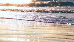 Sea at sunset light