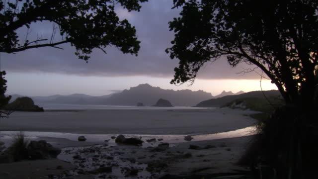 Sea, beach and coastline at dawn, Codfish Island, New Zealand