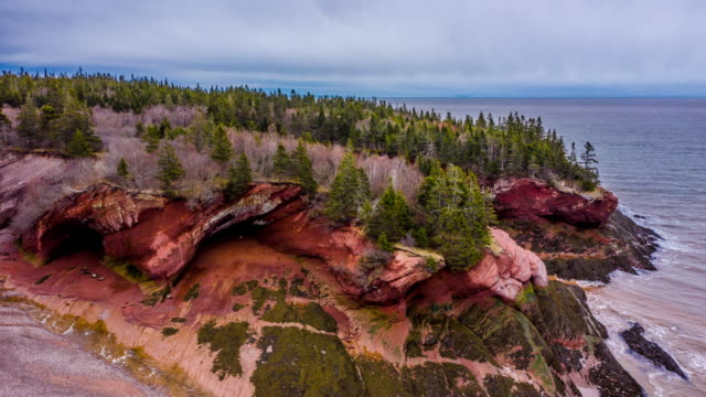 sea caves of fundy biosphere reserve amazing place - national park stock videos & royalty-free footage