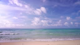 Sea. Clear Blue Sky. Sand Beach. Concept Holiday Nature.