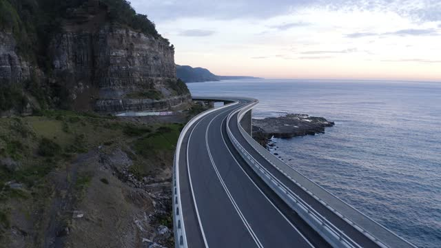 sea cliff bridge - drone early morning - pacific islands stock videos & royalty-free footage