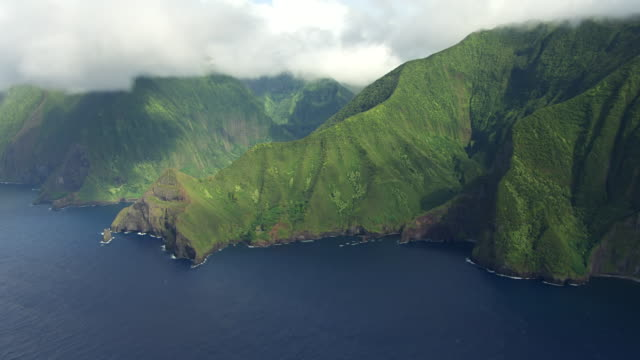 WS AERIAL TU Sea Cliffs of Molokai / Hawaii, United States