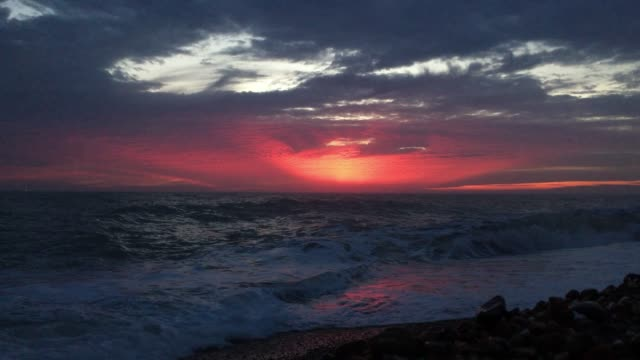 sea coast during sunset - dramatic sky stock videos & royalty-free footage