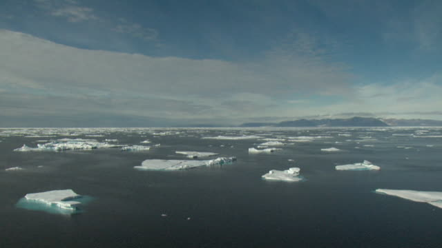 ws pan sea covered with ice floes, nunavut, canada - polarklima stock-videos und b-roll-filmmaterial