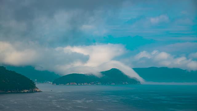sea fog / geoje-si, gyeongsangnam-do, south korea - luogo d'interesse locale video stock e b–roll