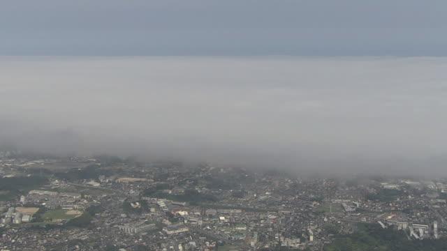 AERIAL, Sea Fog Over City Of Hitachi, Ibaraki, Japan
